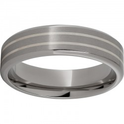 6mm Titanium Band W/2 Ss Inlays