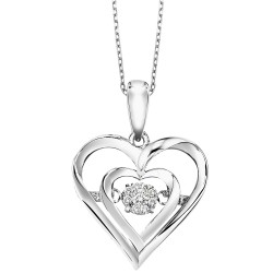 SIL Heart Rhythm of Love Dia Pendant .02cttw