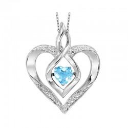 Silver Diamond & Created Blue Topaz Pendant