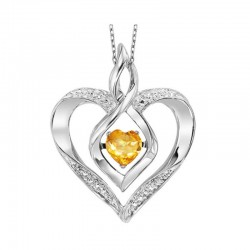 Silver Diamond & Created Citrine. Pendant