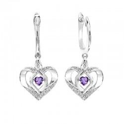 Silver Diamond & Created Amy. Earrings
