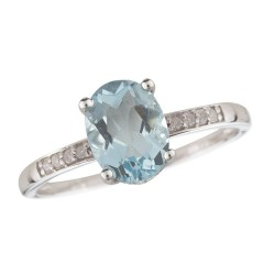14W Aquamarine and Diamond Birthstone Ring March
