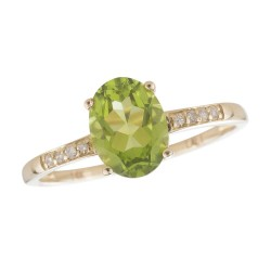 14Y Peridot and Diamond Birthstone Ring August