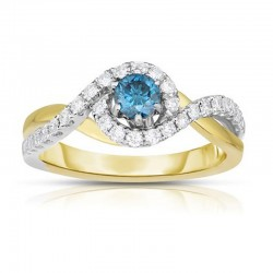 14Ktt Blue & White Diamond Ring