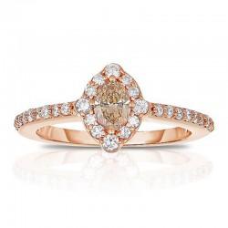 14kr Fancy Color Cognac/White Diamond Ring