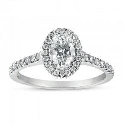 14kw Halo Oval Engagement Ring