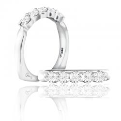 A. Jaffe 18kt White Gold Wedding Band Five Shared Prong Diamonds