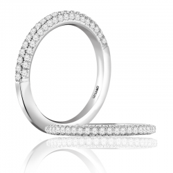 A. Jaffe 18kt White Gold Pave Setting Wedding Band Sixty-One Diamonds