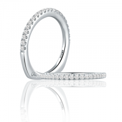 A. Jaffe 18kt White Gold Pave Set Wedding Band Twenty Diamonds
