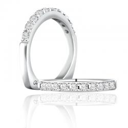 A. Jaffe 18kt White Gold Prong Setting Wedding Band Eleven Diamonds