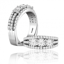 A. Jaffe 18kt White Gold Three Diamonds Anniversary Ring