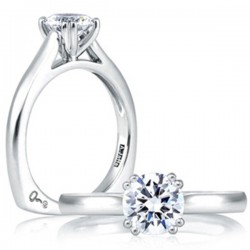A. Jaffe 18kt White Gold Double Prong Engagement Ring