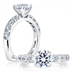 A. Jaffe 18kt White Gold Double Prong Set Engagement Ring