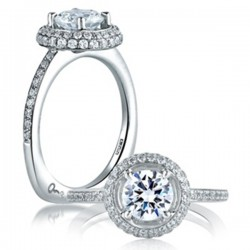 A. Jaffe 18kt White Gold Engagement Ring Double Halo Setting
