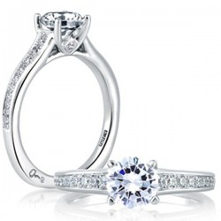 A. Jaffe 18kt White Gold Pave and Bezel Setting Engagement Ring