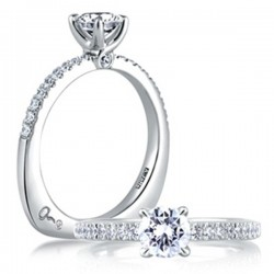 A. Jaffe 18kt White Gold Pave Setting With Loop Engagement Ring