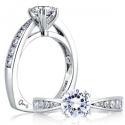 A. Jaffe 18kt White Gold Pinched Shank Cathedral Engagement Ring