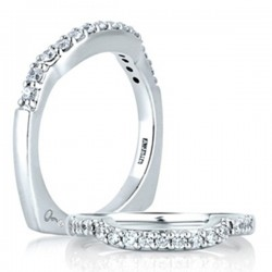 A. Jaffe 18kt White Gold Shared Prong Wedding Band With Eleven Diamonds