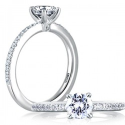 A. Jaffe 18kt White Single Row Pave Engagement Ring