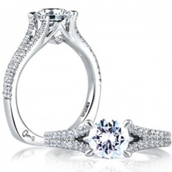 A. Jaffe 18kt White Gold Pave Setting Engagement Ring