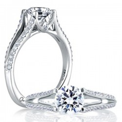 A. Jaffe 18kt White Gold Pave Setting Engagement