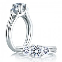 A. Jaffe Trellis Design 18kt White Gold Three Diamond Engagement Ring