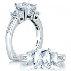 A. Jaffe Three Stone Emerald Cut Engagement Ring