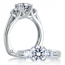 A. Jaffe Trellis Design Engagement Ring Three Stone Setting