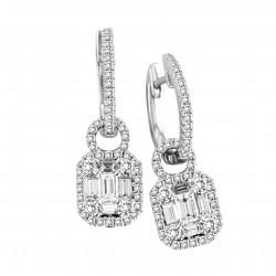 14K White Gold Baguette and Round Diamond Earrings