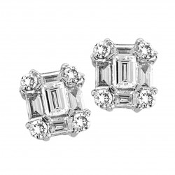 14K White Gold Studs With Baguettes Emeralds and Round Diamonds