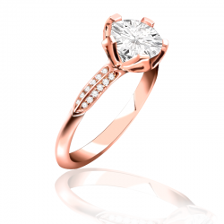 MaeVona 18K Rose Gold Pave Bluebell Semi-Mount Solitaire Engagement Ring