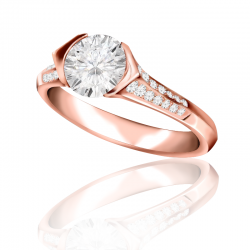 MaeVona 18K Rose Gold Rora Round Cut Engagement Ring