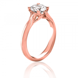 MaeVona 18K Rose Gold Westray Round Cut Engagement Ring
