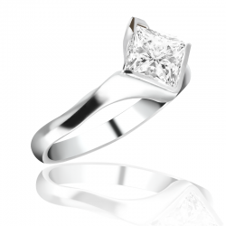 MaeVona 18K White Gold Sanday Semi-Mount Solitaire Engagement Ring