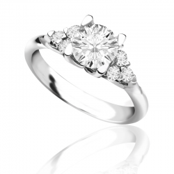 MaeVona 18Kw Meadowsweet Semi-Mount Solitaire Engagement Ring