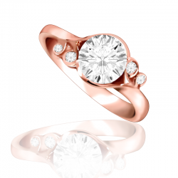 MaeVona 18K Rose Gold Fern Semi-Mount Solitaire Engagement Ring
