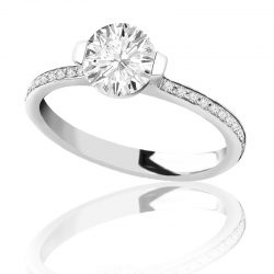 MaeVona 18K White Gold Pave Cava Semi-Mount Solitaire Engagement Ring