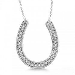 Sterling Silver Diamond Horseshoe Pendant with Chain