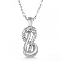 Sterling Silver Diamond Infinity Pendant with Chain