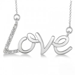 Sterling Silver Diamond Love Pendant with Chain