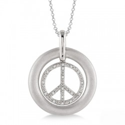 Sterling Silver Diamond Peace Sign Pendant with Chain