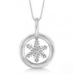 Sterling Silver Diamond Snowflake Pendant with Chain