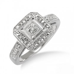 Silver Sterling Diamond Square Top Antique Ring
