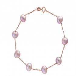 14K Rose Gold 6-6.5mm potato Natural Pink Fresh Water Pearl Bracelet