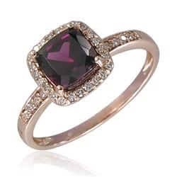 14K Rose Gold Square Rhodolite/Dia Halo Ring .13cttw Dia/1.21ct Rhod