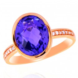 14K Rose Gold Oval Bezel Set Amethyst/Dia Ring .07cttw Dia/2.48ct Amy