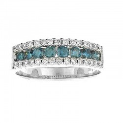 14KW ROUND PRONG & CHANNEL SET BLUE/WHT DIAMOND BAND .38CT TW