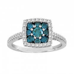 14kw 0.94ct rd blue and white diamonds w/ square halo, size 6.75
