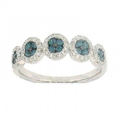 14KW PRONG SET ROUND BLUE AND WHITE DIAMOND RING .30CT TW