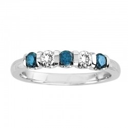 14Kw 5Stone Blue And White Diamond Band .38Tdw